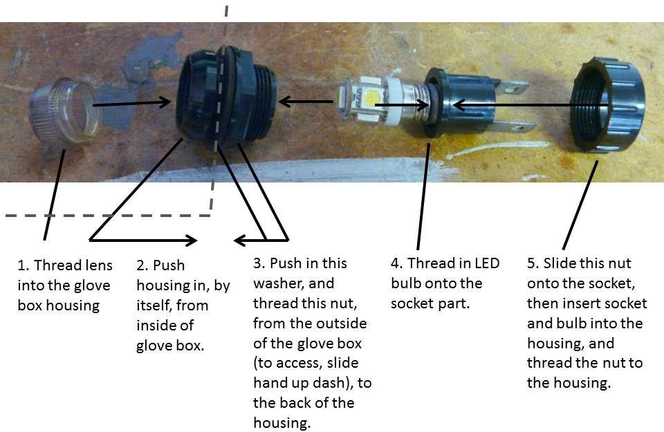 DeLorean glove box lamp LED