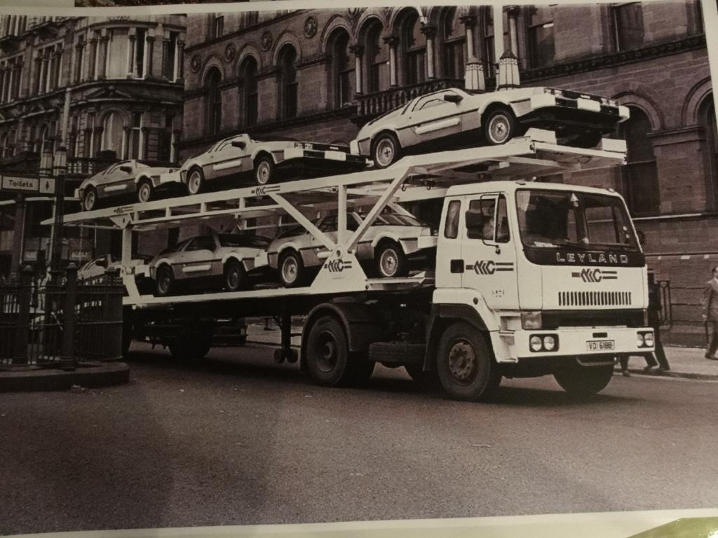 DeLoreans on a transporter in 1981
