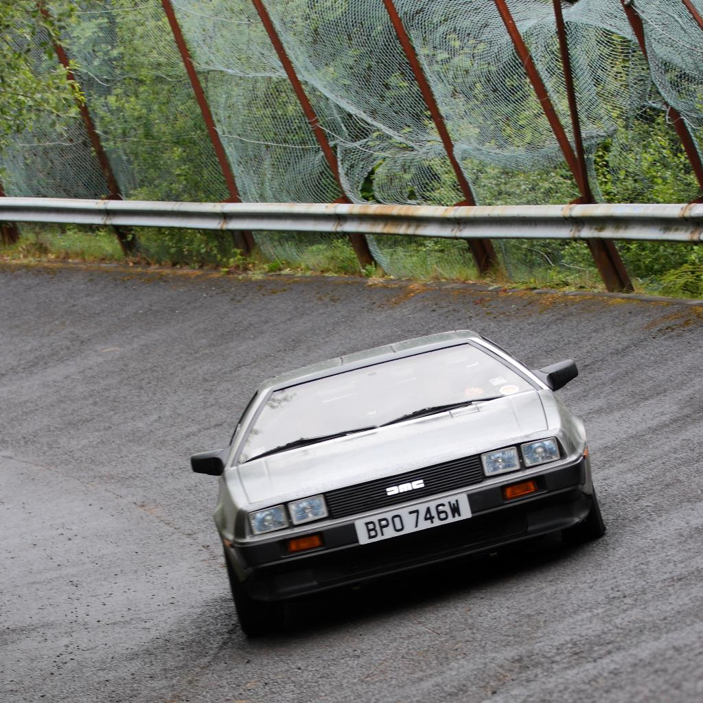 Driving the DeLorean factory test track, in Belfast.